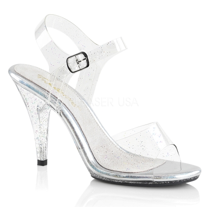 Clear Ankle Strap Sandal With Iridescent Glitters