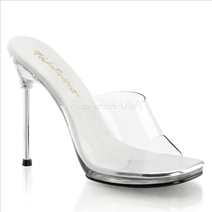 chrome high heel clear shoes