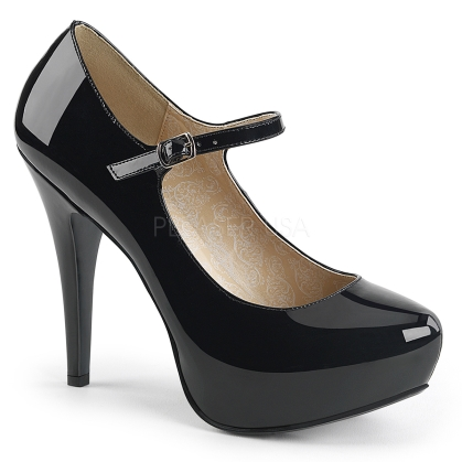 extended size black patent pump