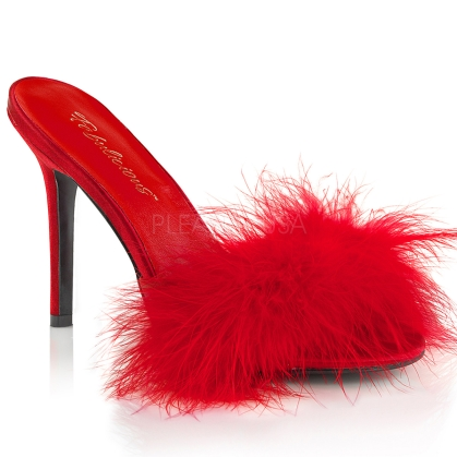 red fur marabou slipper shoes