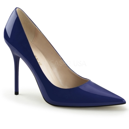 navy blue low heel business shoes