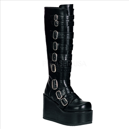 goth gogo buckled knee boot