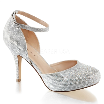 silver glitter d'orsay wedding shoes
