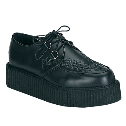 Men's black leather creeper shoes