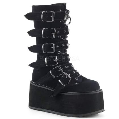 Black Velvet Lace-Up Mid-Calf Boot