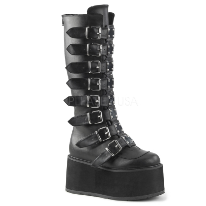 Black Vegan Leather Buckled Strap Knee High Boot