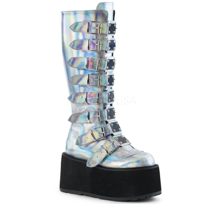 Silver Hologram Knee High Boot 8 Buckle Straps