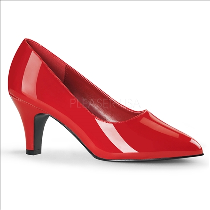 3 inch block heel classic pumps red patent