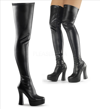 black stretch faux leather fetish footwear thigh high boots