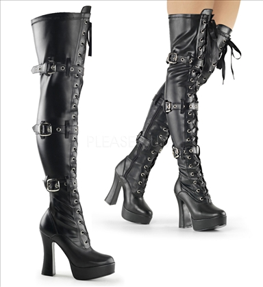 Triple buckles black matte thigh high chunky heel boots
