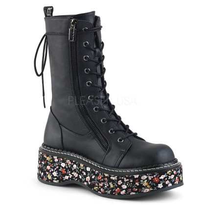 2 inch floral fabric platform midcalf boots