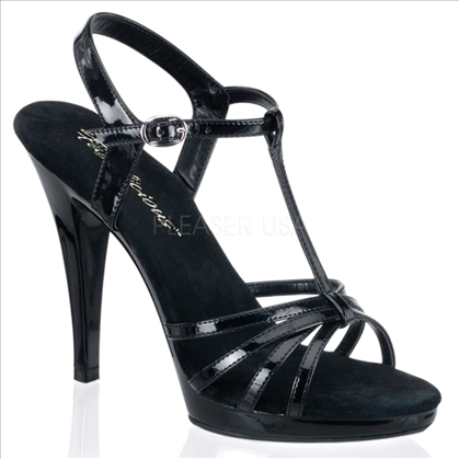 T strap and multi-strap sandal with 4 1/2 inch heel in black patent