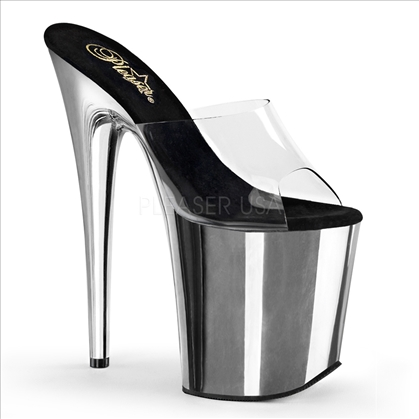 8 inch clear top and silver chrome strapless stripper shoes