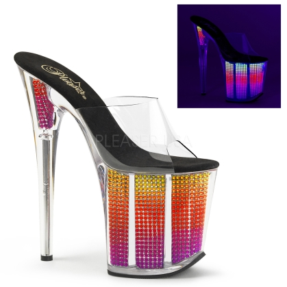 sexy strapless stripper shoes chrome plated and rhinestones clear multi color 8 inch heel