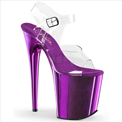 8 inch heel purple chrome clear top ankle strap stripper shoes