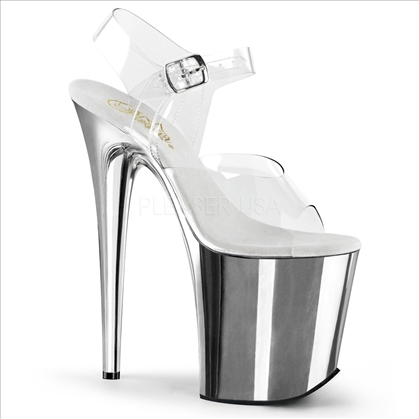 8 inch silver chrome and clear top ankle strap stripper shoes
