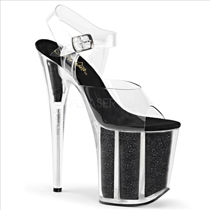 8 inch heel exotic stripper shoes black glitter black insole and clear ankle straps