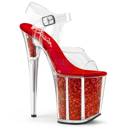 8 inch heel exotic stripper shoes red glitter and clear ankle straps
