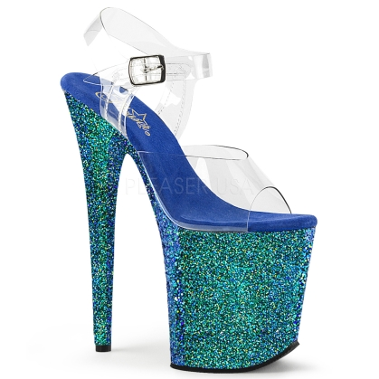ankle strap 8 inch heel blue holographic sexy stripper heels