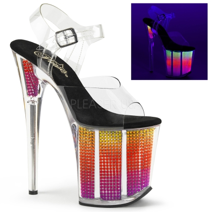 rhinestones filled platform bottom and ankle strap 8 inch heel exotic dance shoes multi color