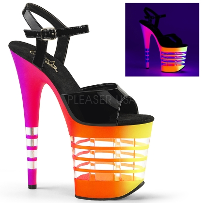 Multi-color neon UV reactive 8 inch heel clear lines exotic dance shoe