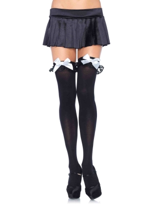Stockings Nylon Stockings with Bow & Lace Ruffle