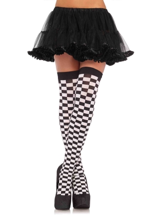 Stockings Checkerboard thigh highs