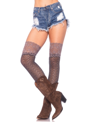 Stockings Lace Top Crochet Knit Knee Highs