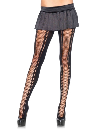 Stockings Crochet Faux Lace Up Tights