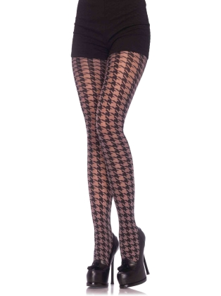 Stockings Spandex opaque houndstooth tights