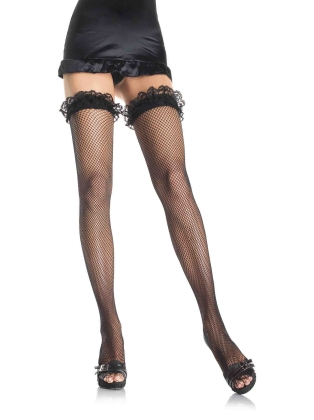 Stockings Lace Ruffle Top Fishnet Thigh-Highs