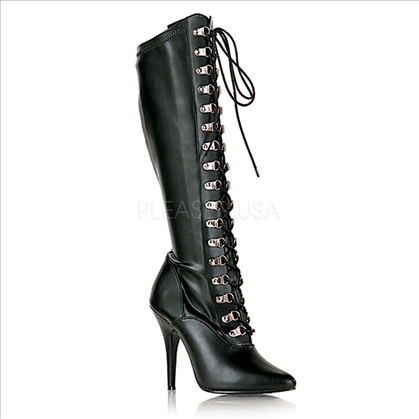 Edgy Stiletto Heel D-Ring Lace Up Knee-High Boot
