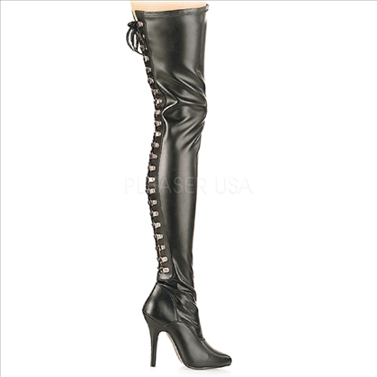 Black Faux Leather Thigh High Boots Lace Up Back