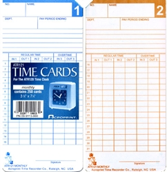 Acroprint ATR121 Semi-Monthly/Monthly Time Cards for ATR120, Box of 500