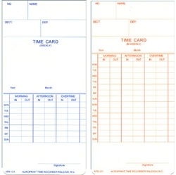 Compumatic CTR121 Weekly/Bi-Weekly Time Cards for TR Series, Box of 1,000