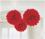 Fluffy Burst Red Hanging Deco