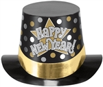 HAPPY NEW YEAR HAT BLACK/SILVER/GOLD PRINTED