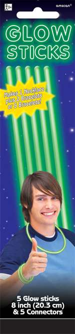Green Glow Sticks 8in 5ct