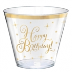GOLD BIRTHDAY  PLASTIC 9 OUNCE TUMBLERS