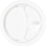 WHITE DIVIDED PLASTIC PLATES 10.25in.-20 PC