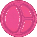 BRIGHT PINK 10.25in. DIVIDED PLASTIC PLATES