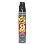 BLACK 16OZ PLASTIC CUP PARTY PACK - 50CT