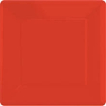 SQUARE 10.75in. RED PLASTIC PLATES