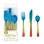 Rainbow Confetti Cutlery Assorted - Iridescent Plastic