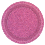 Bright Pink Round Prismatic Plates, 8 1/2""