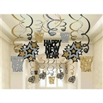 New Year Hanging Swirl Decorations Mega Pack Black/Silver/Gold