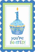1ST BIRTHDAYDAY CUPCAKE BOY INVITATIONS