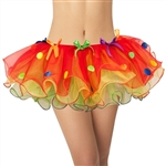 Rainbow Clown Skirt w/ Polka Dots and Bows