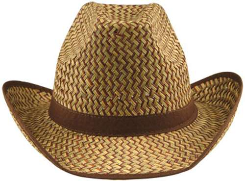 Western 2-Tone Hat with Brown Trim and Band - Bartz s Party Stores b7d62fb5dbbc