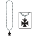 Black Chain with Black Iron Cross Medallion